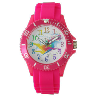 Watch with splashes of paint and colorful numbers