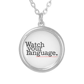 Watch Your Language 2 Round Pendant Necklace