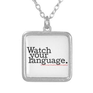 Watch Your Language 2 Square Pendant Necklace