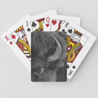 Watchful Eye of the Dominant Bull Bison Playing Cards
