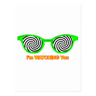 Watching Hypnotize Sunglasses Green Rim The MUSEUM Post Card