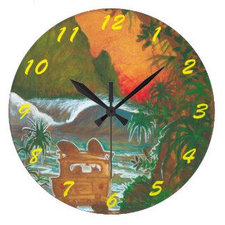 Watching the Sunset Man Dog and Surf Van Clock
