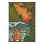 Watching the Sunset Man Dog and Surf Van Poster