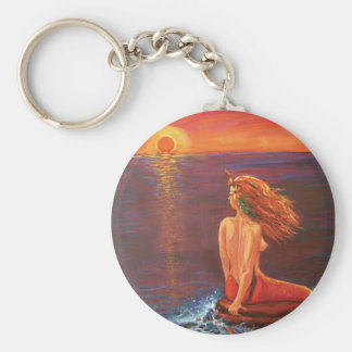 Watching The Sunset - Mermaid Art KeyChain