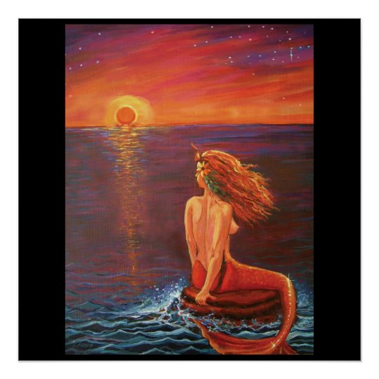 Watching The Sunset - Mermaid Print
