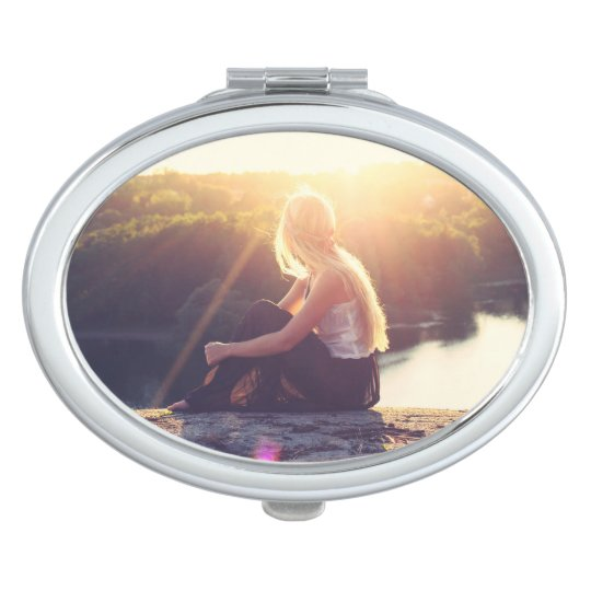Watching the Sunset - Oval Compact Mirror