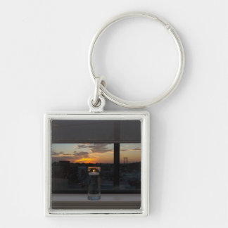 Watching The Sunset Silver-Colored Square Keychain
