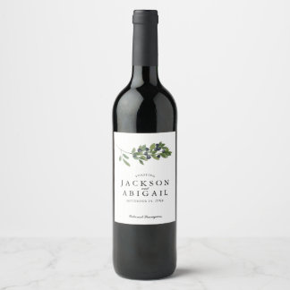 Watecolor Olive Branch Wedding Wine Label