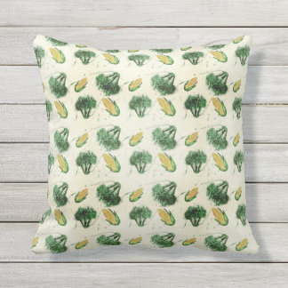 Watecolor  pattern with corns and broccoli throw pillow