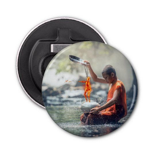Water and Fire Button Bottle Opener