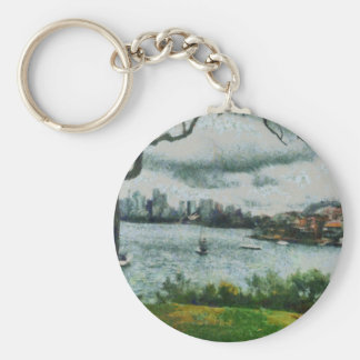 Water and scenery basic round button keychain