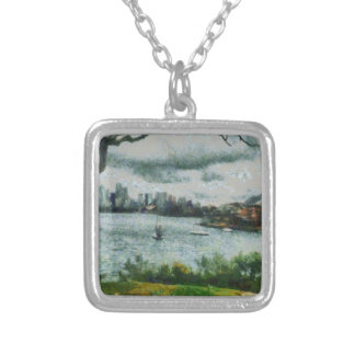 Water and scenery silver plated necklace