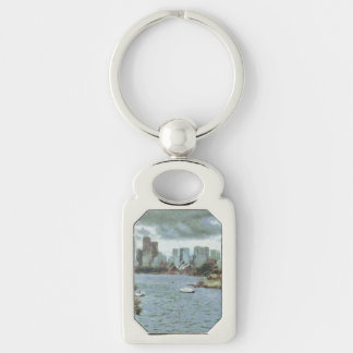 Water and skyline Silver-Colored rectangle keychain
