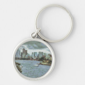 Water and skyline Silver-Colored round keychain