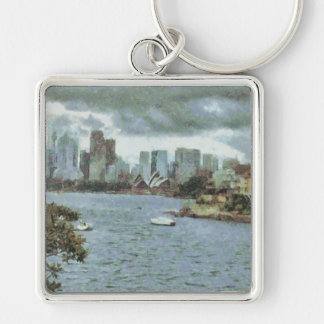 Water and skyline Silver-Colored square keychain