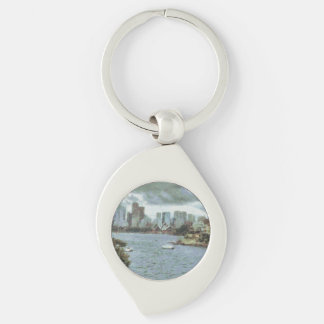 Water and skyline Silver-Colored swirl keychain
