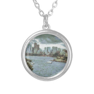 Water and skyline silver plated necklace