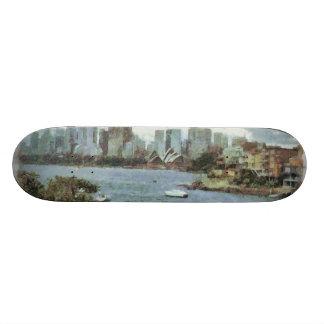 Water and skyline skate board decks