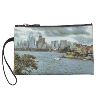 Water and skyline wristlet purses
