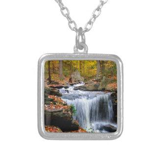 Water Autumn Falls Square Pendant Necklace