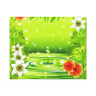 Water Bamboo and Tropical Flowers Canvas Print