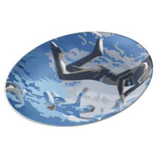 Water blue swimming diving underwater porcelain plates