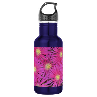 Water bottle bright pink yellow centered flowers.