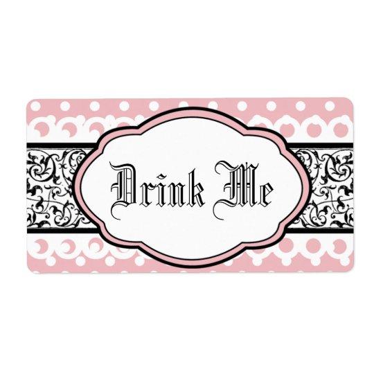 Water Bottle Label - Elegant Pink and Black