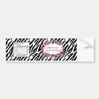 Water Bottle Label Girly Butterfly Zebra Print Bumper Sticker