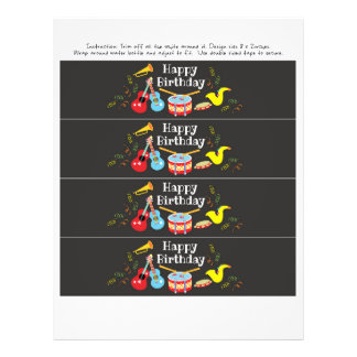 water bottle label happy birthday kids music party flyer