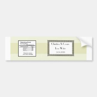 Water Bottle Label Light Green/Gray Formal Wedding Bumper Sticker