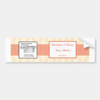 Water Bottle Label Pinkish/Peach Formal Scrolls El Bumper Sticker