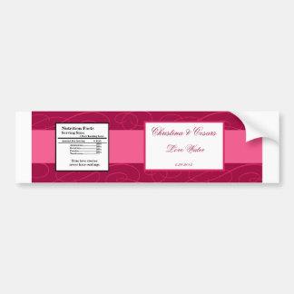 Water Bottle Label Raspberry Pink Loops/Swirls Blu Bumper Sticker