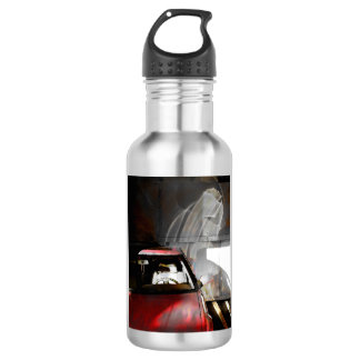 Water bottle watercolor photo red car with reflect