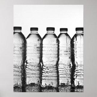Water bottles in studio poster