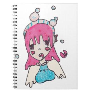 water bubble disolving chibi notebooks