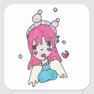 water bubble disolving chibi square sticker