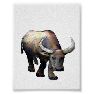 Water Buffalo Ox China Colossal Giclée jGibney Poster