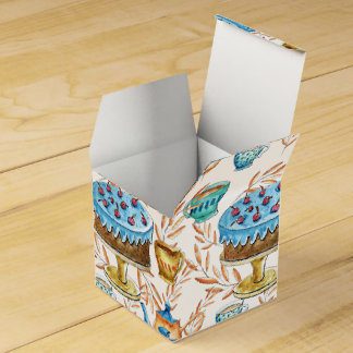 Water color cups and cake design favor box