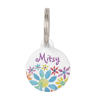 Water Color Flower Pet Tag