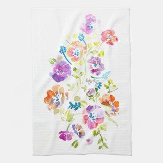 Water Color Flowers Towel Pink