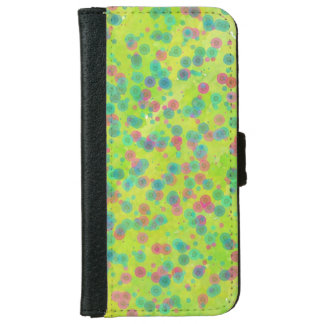 water color green doted pattern iphone wallet case