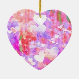 Water Color Hearts Ceramic Ornament
