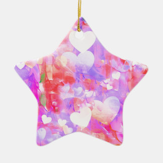 Water Color Hearts Ceramic Ornament