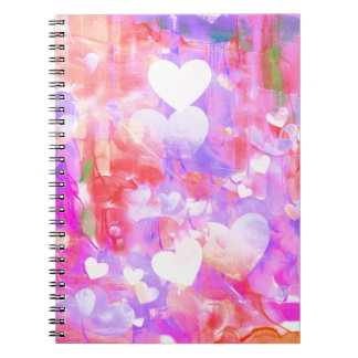 Water Color Hearts Spiral Notebook