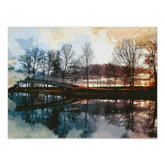 Water Color of Sunset at the Footpath Over the Lak Poster