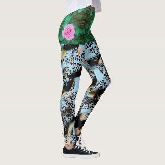 WATER COLOR OVERALL GARDEN PATTERN BY ARA ARTIST LEGGINGS