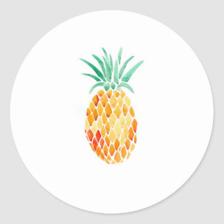 Water- Color Pineapple Round Sticker