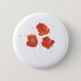 Water Color Poppies 2 Inch Round Button