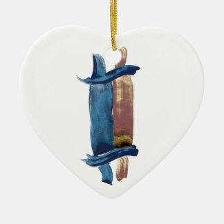 Water Color Torah Ceramic Heart Ornament